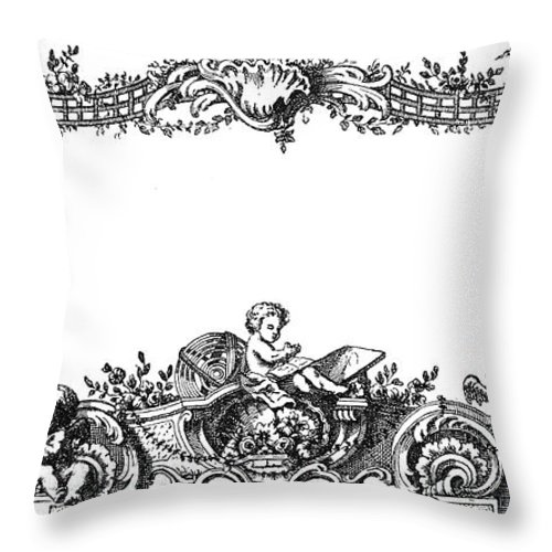 1755 Throw Pillow featuring the photograph Cartouche, 1755 2 by Granger