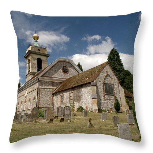 St. Lawrence Throw Pillow featuring the photograph Church Of St. Lawrence West Wycombe by Chris Day