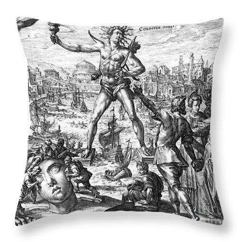 3rd Century B. C. Throw Pillow featuring the photograph Colossus Of Rhodes by Granger