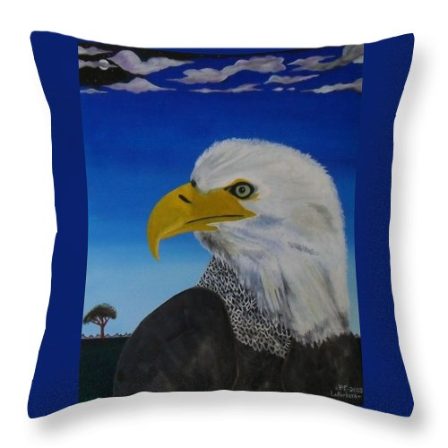 Eagle Throw Pillow featuring the painting Eagle At Dusk by Paul F Labarbera