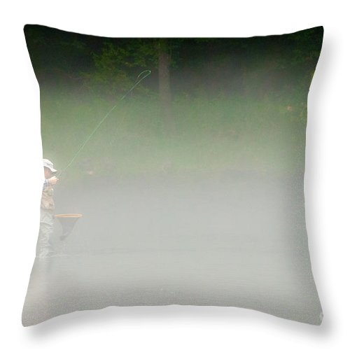 Fog Fishing Throw Pillow featuring the photograph Fog Fishing by Cindy Tiefenbrunn