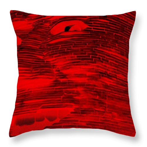 Architecture Throw Pillow featuring the photograph Gentle Giant In Negative Red by Rob Hans