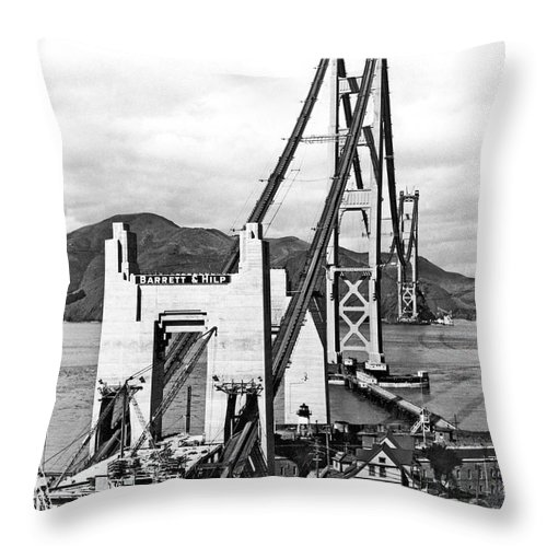 1930s Throw Pillow featuring the photograph Golden Gate Bridge Work by Underwood Archives