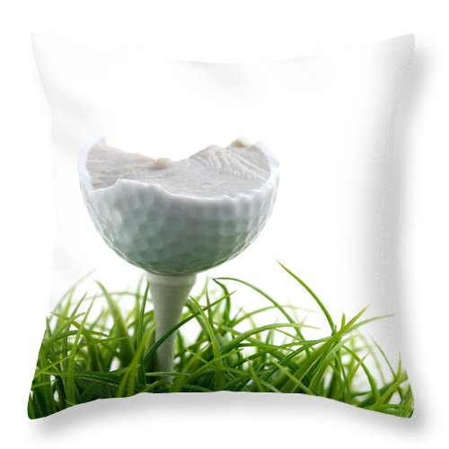 Activity Throw Pillow featuring the photograph Golfball by Kati Finell