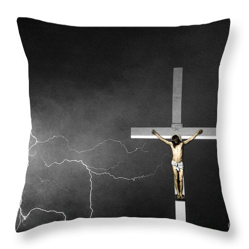 God Throw Pillow featuring the photograph Good Friday - Crucifixion Of Jesus Bw by James BO Insogna
