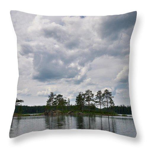 Haukkajärvi Throw Pillow featuring the photograph Haukkajarvi by Jouko Lehto