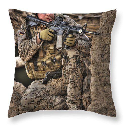 Aiming Throw Pillow featuring the photograph Hdr Image Of A German Army Soldier by Terry Moore