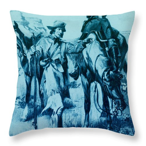 J.c. Fremont And His Guide, Kit Carson Throw Pillow for Sale by Photo Researchers