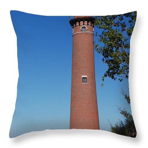 Little Sable Point Lighthouse Throw Pillow featuring the photograph Little Sable Point Lighthouse by Grace Grogan