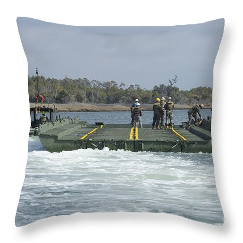Exercise Bold Alligator Throw Pillow featuring the photograph Marines And Sailors Tow An Improved by Stocktrek Images
