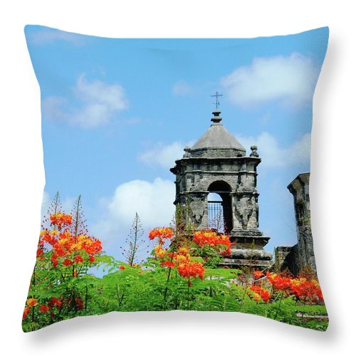 Mission Throw Pillow featuring the digital art Mission San Jose San Antonio by Lizi Beard-Ward