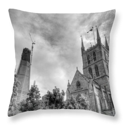Shard Throw Pillow featuring the photograph New and Old by Chris Day