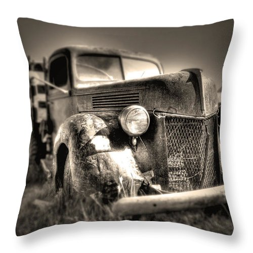 Old Truck At Bodie Throw Pillow featuring the photograph Old Truck At Bodie by Chris Brannen