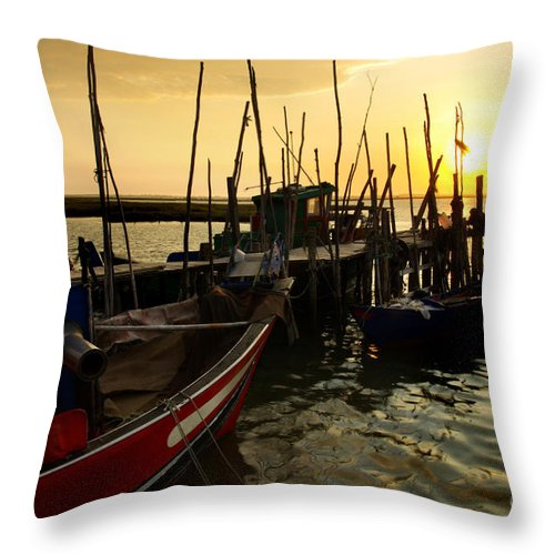 Bay Throw Pillow featuring the photograph Palaffite Port by Carlos Caetano