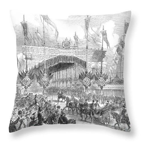 1855 Throw Pillow featuring the photograph Paris Exposition, 1855 by Granger