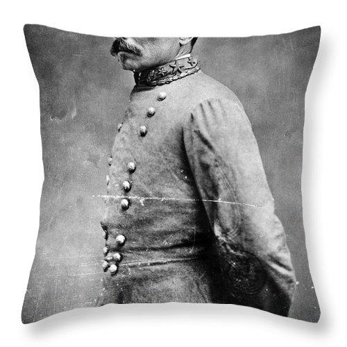 1860s Throw Pillow featuring the photograph Pierre G.t.de Beauregard by Granger