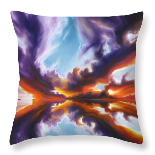 Bright Clouds; Sunsets; Reflections; Ocean; Water; Purple; Orange; Storms; Lightning; Contemporary; Abstract; Realism; James Christopher Hill; James Hill Studios; James C. Hill Throw Pillow featuring the painting Reflections of the Mind by James Christopher Hill