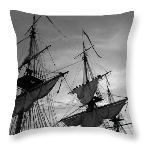 Sailor Throw Pillow featuring the photograph Setting Sails On A Tall Ship by Ulrich Kunst And Bettina Scheidulin