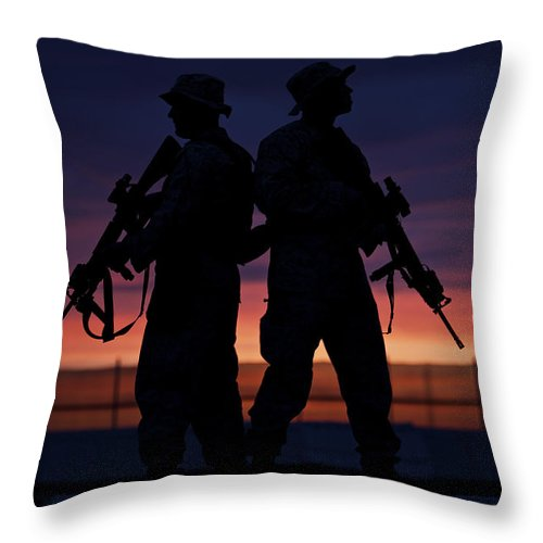 Operation Enduring Freedom Throw Pillow featuring the photograph Silhouette Of U.s Marines On A Bunker by Terry Moore