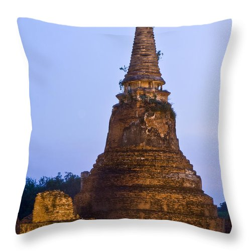 Architecture Throw Pillow featuring the photograph Stupa Chedi Of A Wat In Ayutthaya Thailand by U Schade