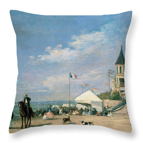 The Throw Pillow featuring the painting The Beach At Trouville by Eugene Louis Boudin