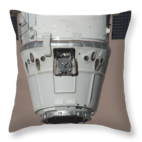 Color Image Throw Pillow featuring the photograph The Spacex Dragon Commercial Cargo by Stocktrek Images