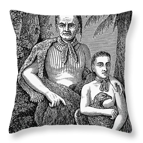 America Throw Pillow featuring the photograph Tomo-chichi (1642-1739) by Granger