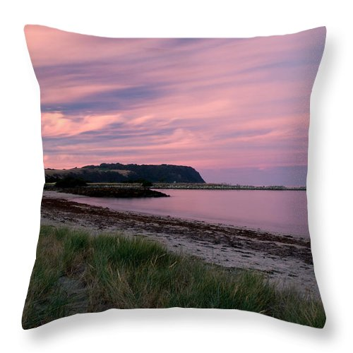 Red Throw Pillow featuring the photograph Twilight After A Sunset At A Beach by U Schade