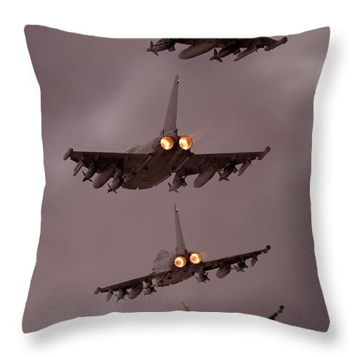 Aircraft Throw Pillow featuring the photograph Typhoon by Angel Ciesniarska