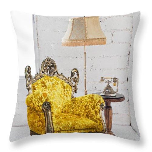 Antique Throw Pillow featuring the photograph Victorian Sofa In White Room by Setsiri Silapasuwanchai