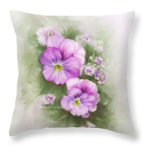 Viola Throw Pillow featuring the painting Viola by Bonnie Willis