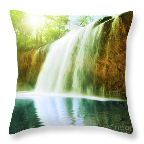 Waterfall Throw Pillow featuring the photograph Waterfall Pool by MotHaiBaPhoto Prints