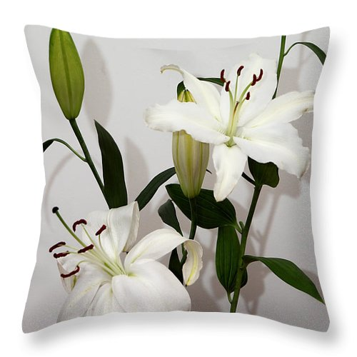 Lily Throw Pillow featuring the photograph White Lily Spray by Carole-Anne Fooks