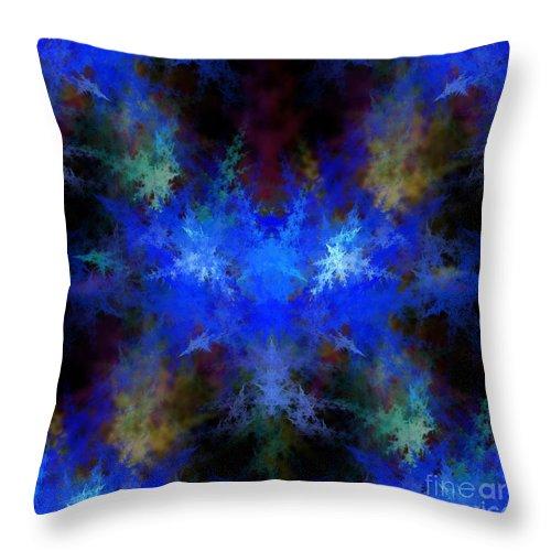 Blue Throw Pillow featuring the digital art Fractal by Henrik Lehnerer