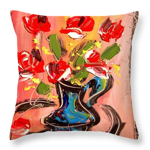 Roses Throw Pillow featuring the mixed media Roses by Mark Kazav