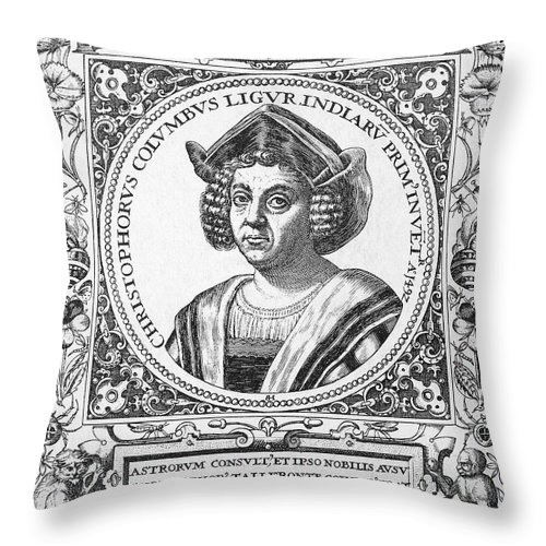15th Century Throw Pillow featuring the photograph Christopher Columbus by Granger