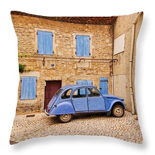 Europe Throw Pillow featuring the photograph 2cv Dans Le Bleu Francais St Remy De Provence by Fred J Lord