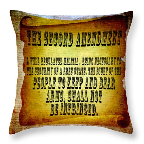 Usa Throw Pillow featuring the mixed media 2nd Amendment by Angelina Vick