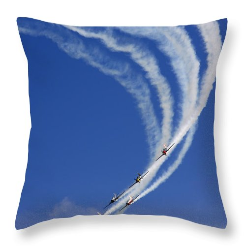 Airshow Throw Pillow featuring the photograph Aerostars by Angel Ciesniarska