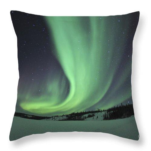 Yellowknife Throw Pillow featuring the photograph Aurora Borealis Over Prosperous Lake by Jiri Hermann