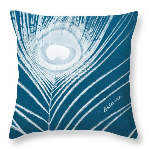 Feather Throw Pillow featuring the mixed media Balance by Linda Woods