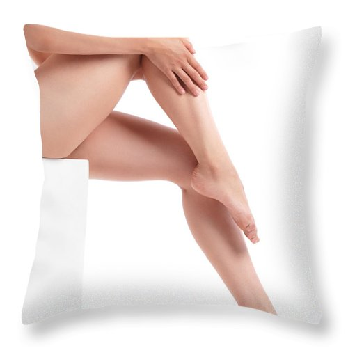 Legs Throw Pillow featuring the photograph Bare Woman Legs by Oleksiy Maksymenko