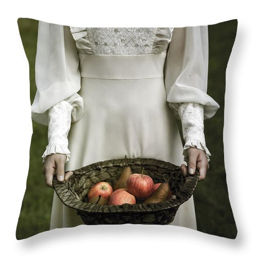 Woman Throw Pillow featuring the photograph Basket With Fruits by Joana Kruse