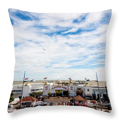 Beach Throw Pillow featuring the photograph Clacton Pier by Dawn OConnor