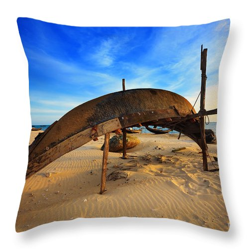 Vietnamese Throw Pillow featuring the photograph Fisherman Boat by MotHaiBaPhoto Prints