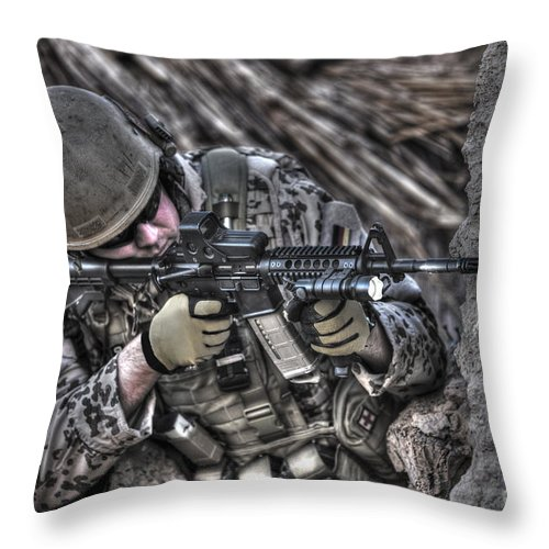 Operation Enduring Freedom Throw Pillow featuring the photograph Hdr Image Of A German Army Soldier by Terry Moore