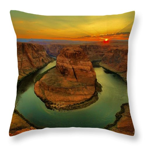 Throw Pillow featuring the photograph Horseshoe Bend by Adam Jewell