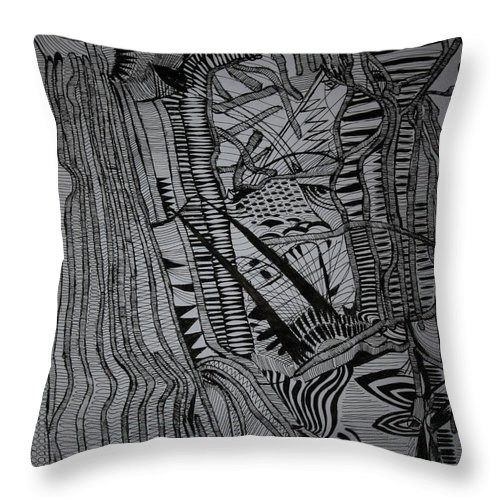 Jesus Throw Pillow featuring the drawing Kintu And Nambi by Gloria Ssali