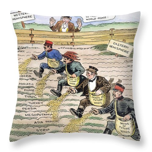 1920 Throw Pillow featuring the drawing League Of Nations Cartoon by Granger