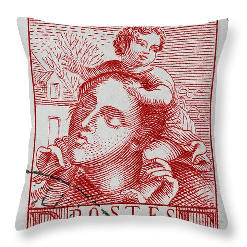Old French Postage Stamp Throw Pillow featuring the photograph old French postage stamp by James Hill